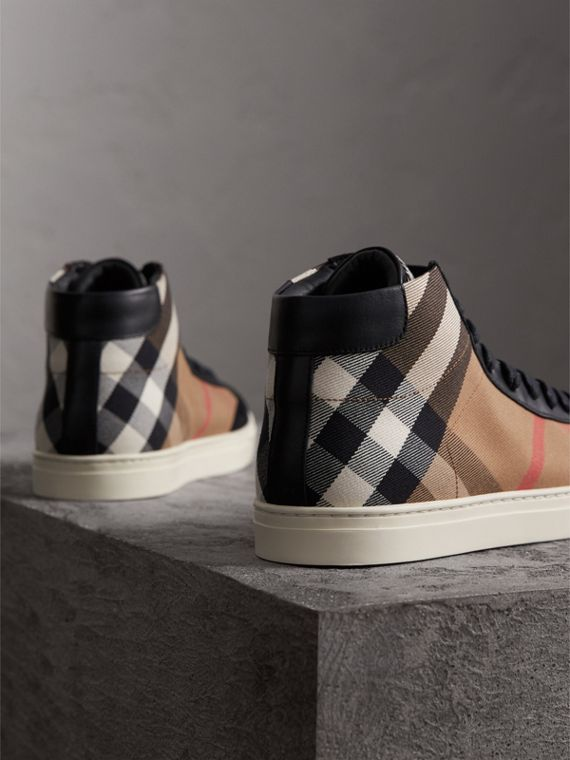 House Check Cotton and Leather High-top Trainers in Black - Men | Burberry - cell image 2
