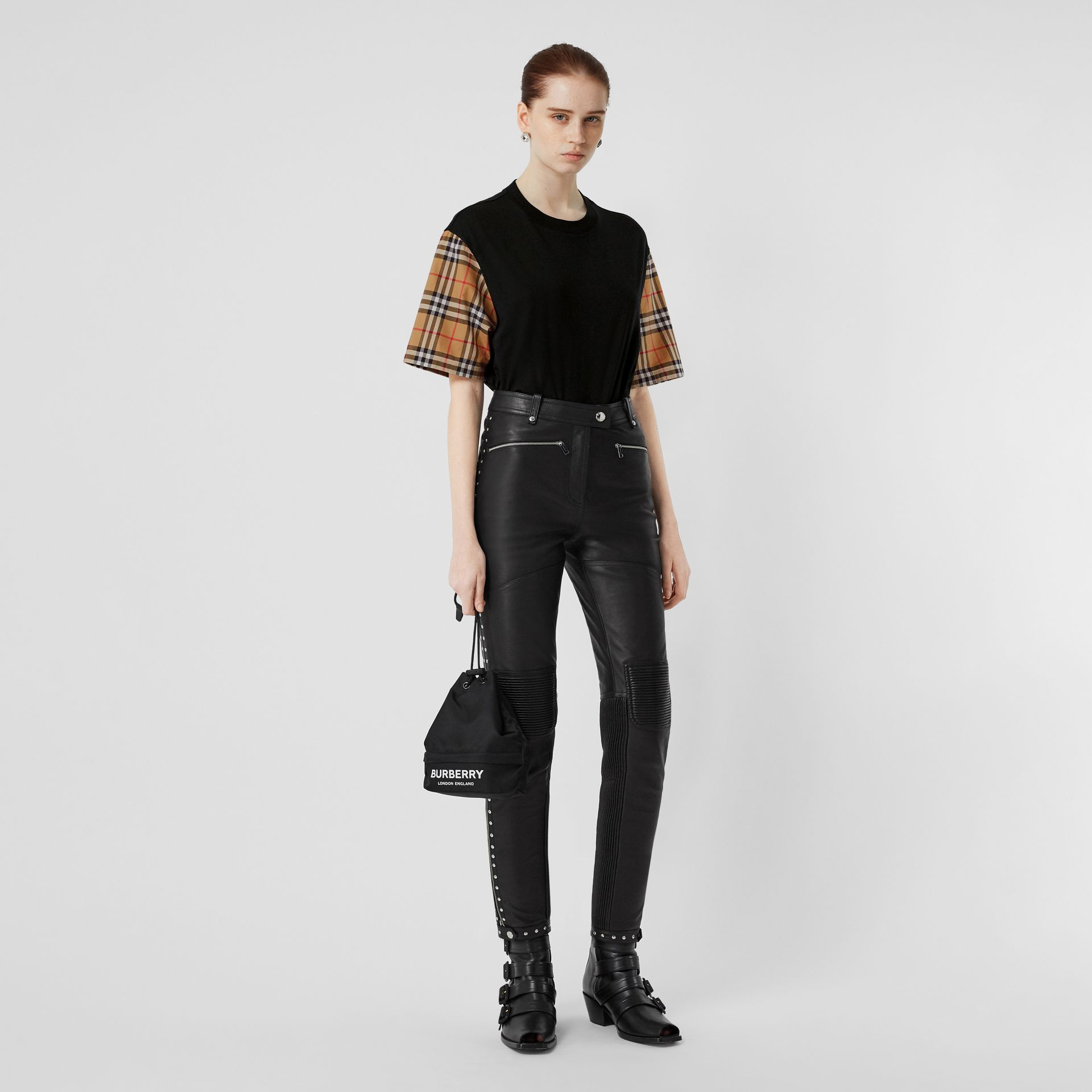 Vintage Check Detail Cotton T-shirt in Black - Women | Burberry - gallery image 0