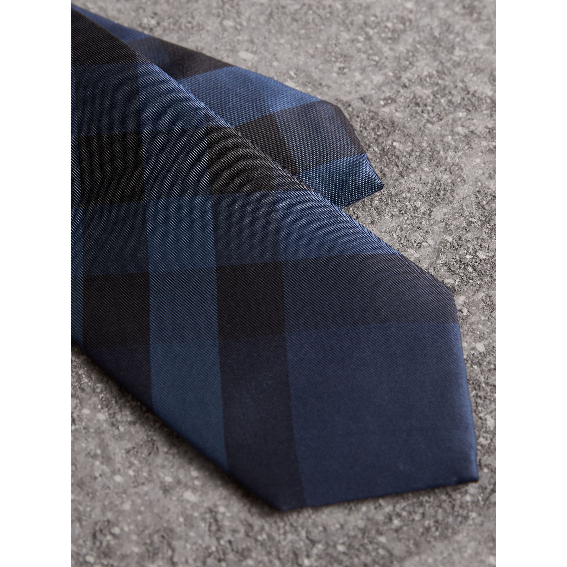 Modern Cut Check Silk Tie in Navy - Men | Burberry United Kingdom - gallery image 2