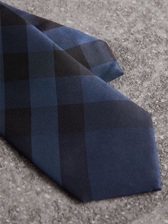 Modern Cut Check Silk Tie in Navy - Men | Burberry Canada - cell image 1