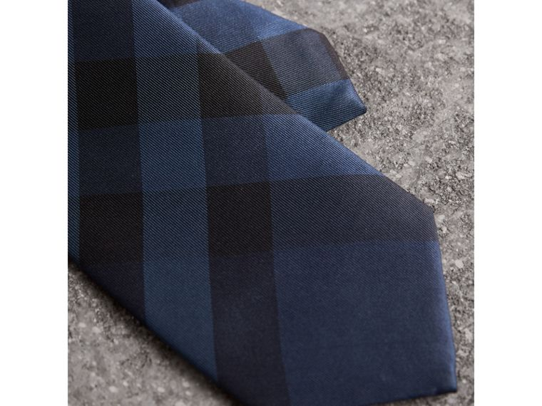 Modern Cut Check Silk Tie in Navy - Men | Burberry Singapore - cell image 1