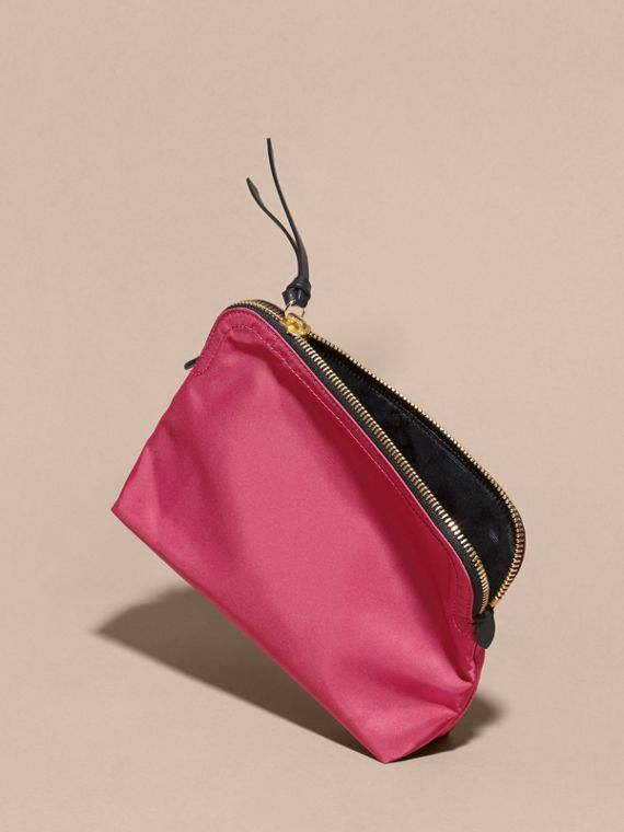 Large Zip-top Technical Nylon Pouch in Plum Pink - cell image 3