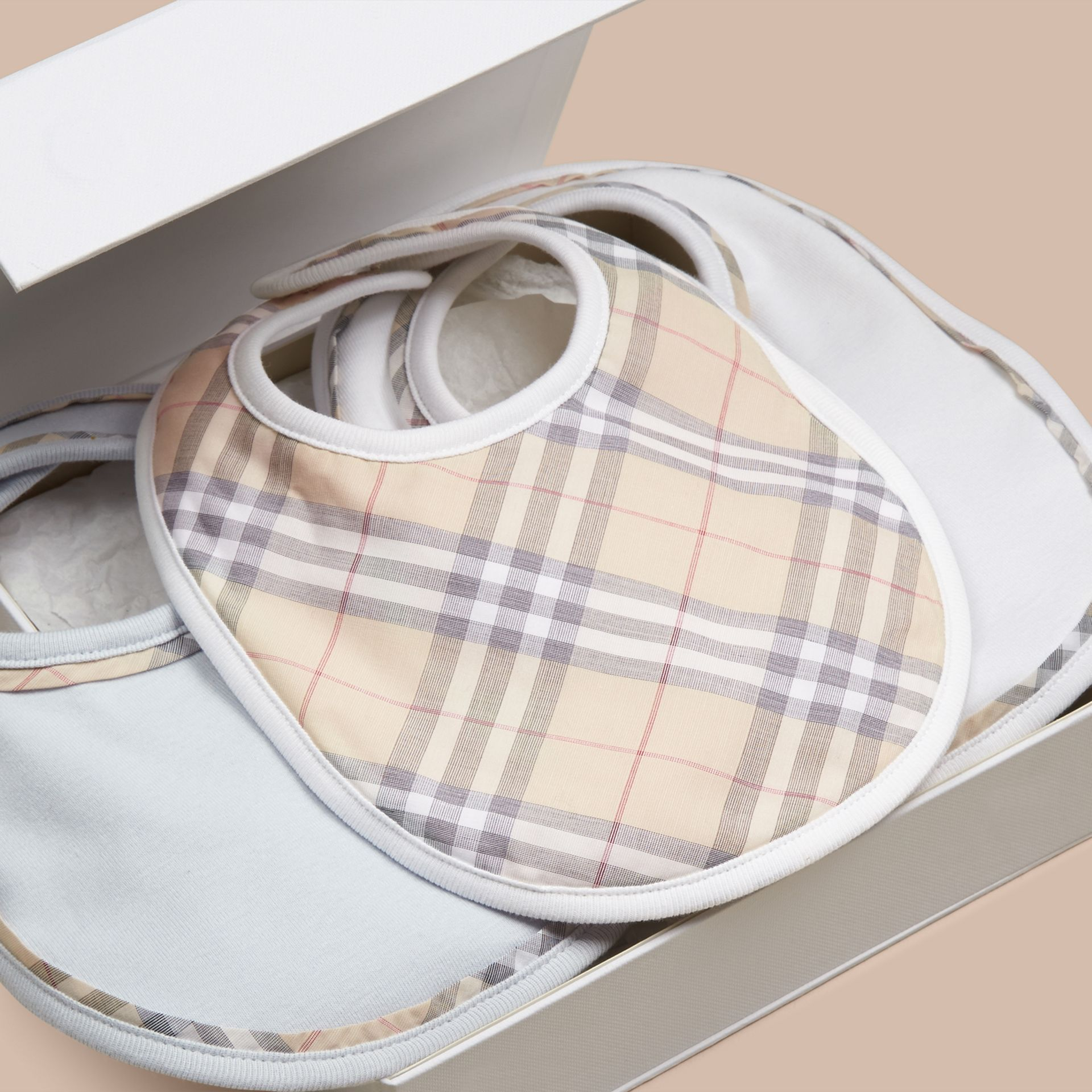 Ice blue Check Cotton Three-Piece Baby Bib Gift Set Ice Blue - gallery image 2