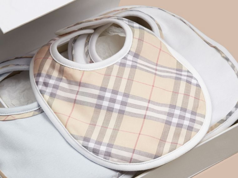 Ice blue Check Cotton Three-Piece Baby Bib Gift Set Ice Blue - cell image 1