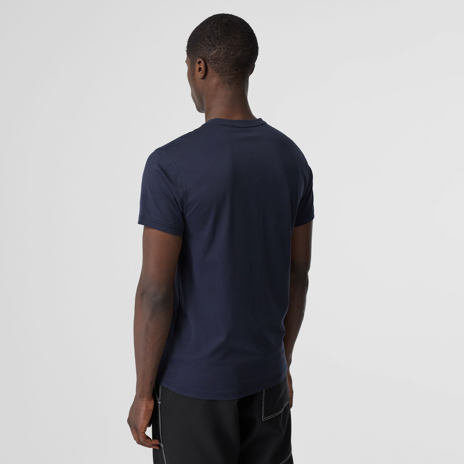 Monogram Motif Cotton V-neck T-shirt in Navy - Men | Burberry United Kingdom - gallery image 2