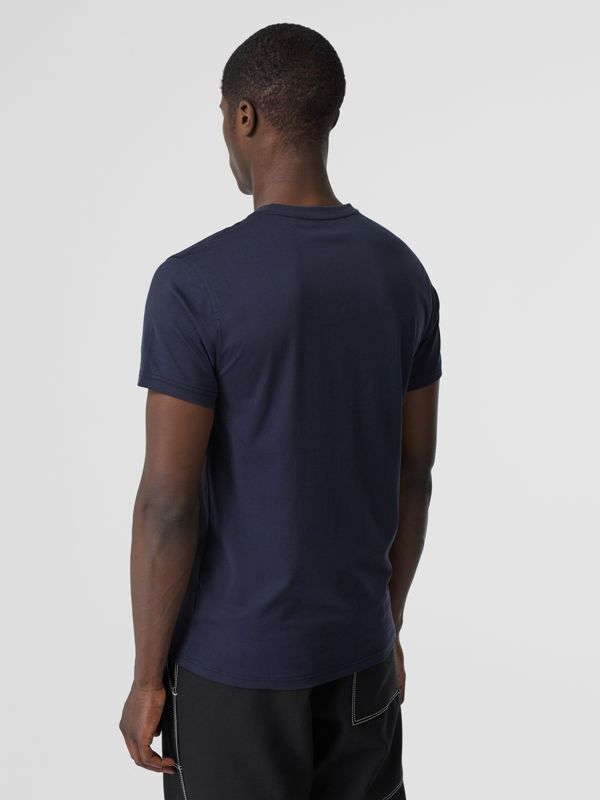 Monogram Motif Cotton V-neck T-shirt in Navy - Men | Burberry United Kingdom - cell image 2