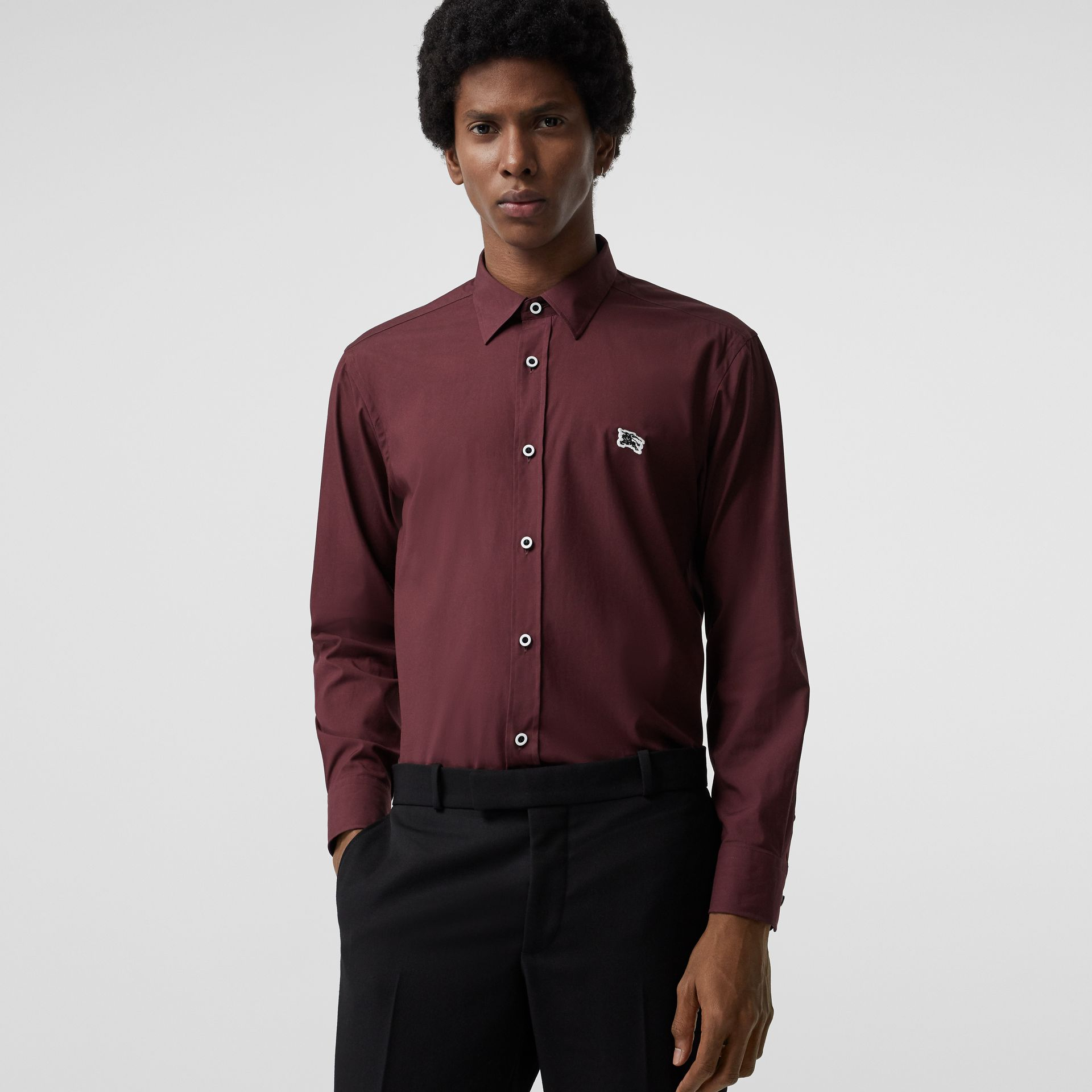 Contrast Button Stretch Cotton Shirt in Oxblood - Men | Burberry Singapore - gallery image 0
