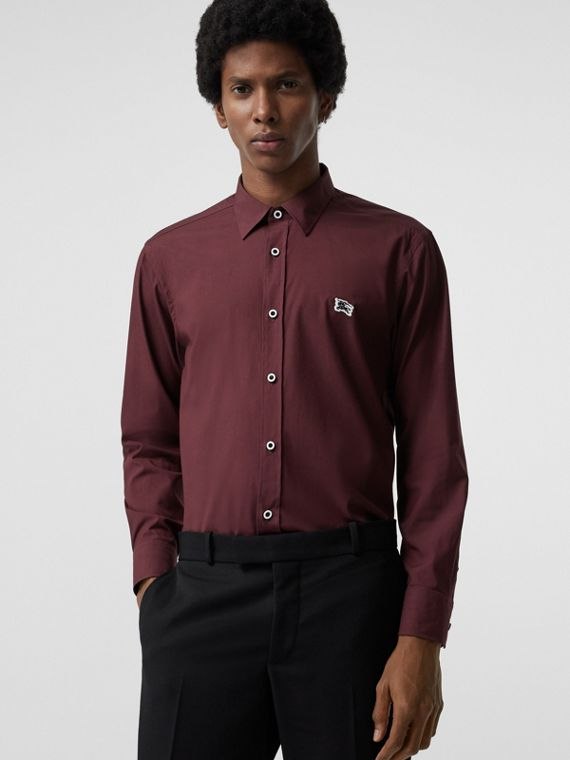 Contrast Button Stretch Cotton Shirt in Oxblood