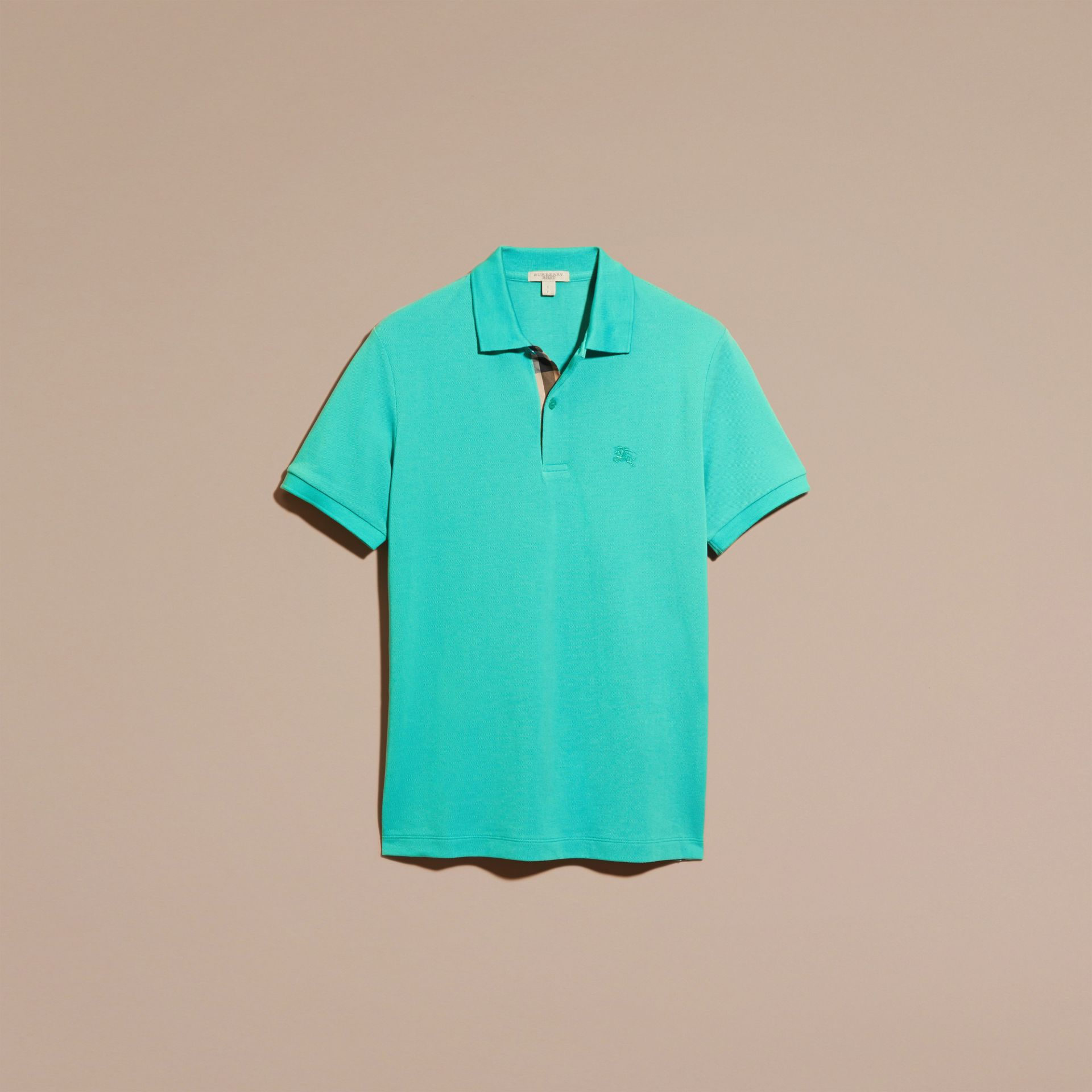 Turquoise green Check Placket Cotton Piqué Polo Shirt Turquoise Green - gallery image 4