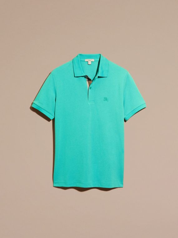 Turquoise green Check Placket Cotton Piqué Polo Shirt Turquoise Green - cell image 3