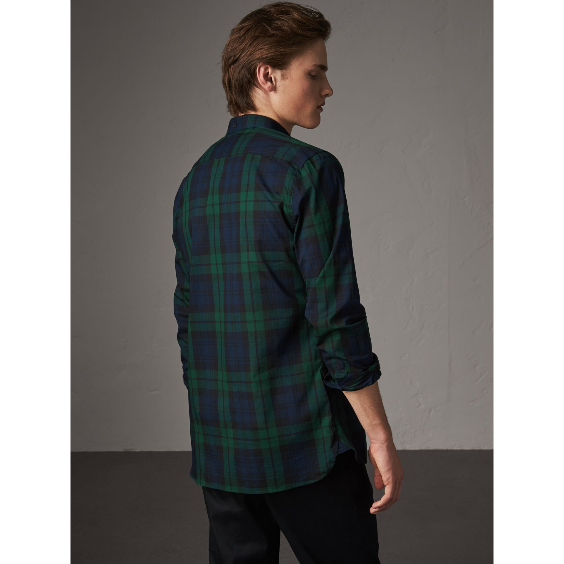 Check Cotton Shirt in Navy - Men | Burberry Australia - gallery image 2