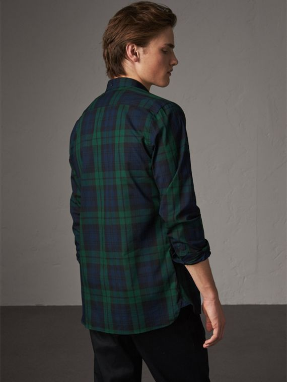 Check Cotton Shirt in Navy - Men | Burberry Australia - cell image 2