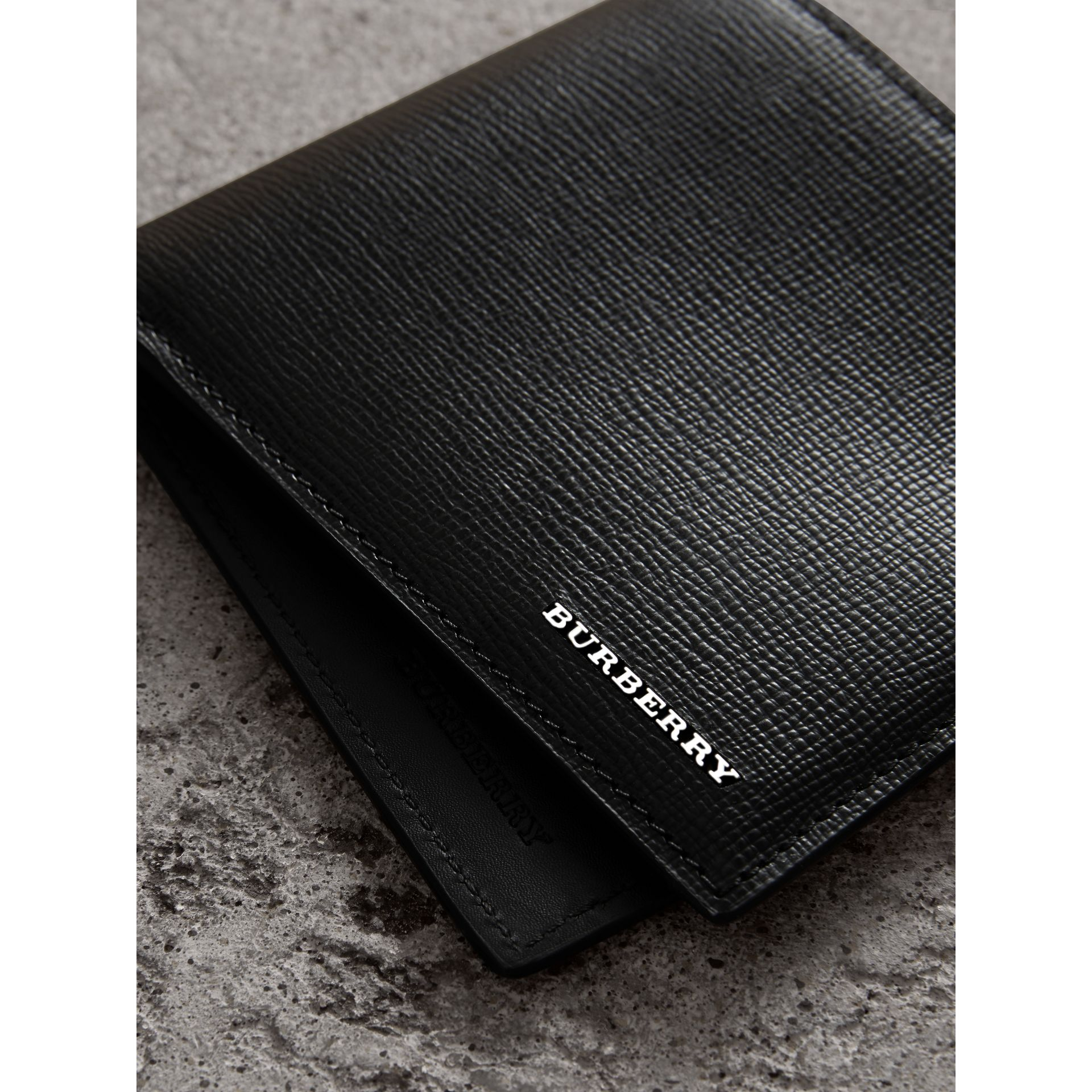 London Leather International Bifold Wallet in Black | Burberry - gallery image 1