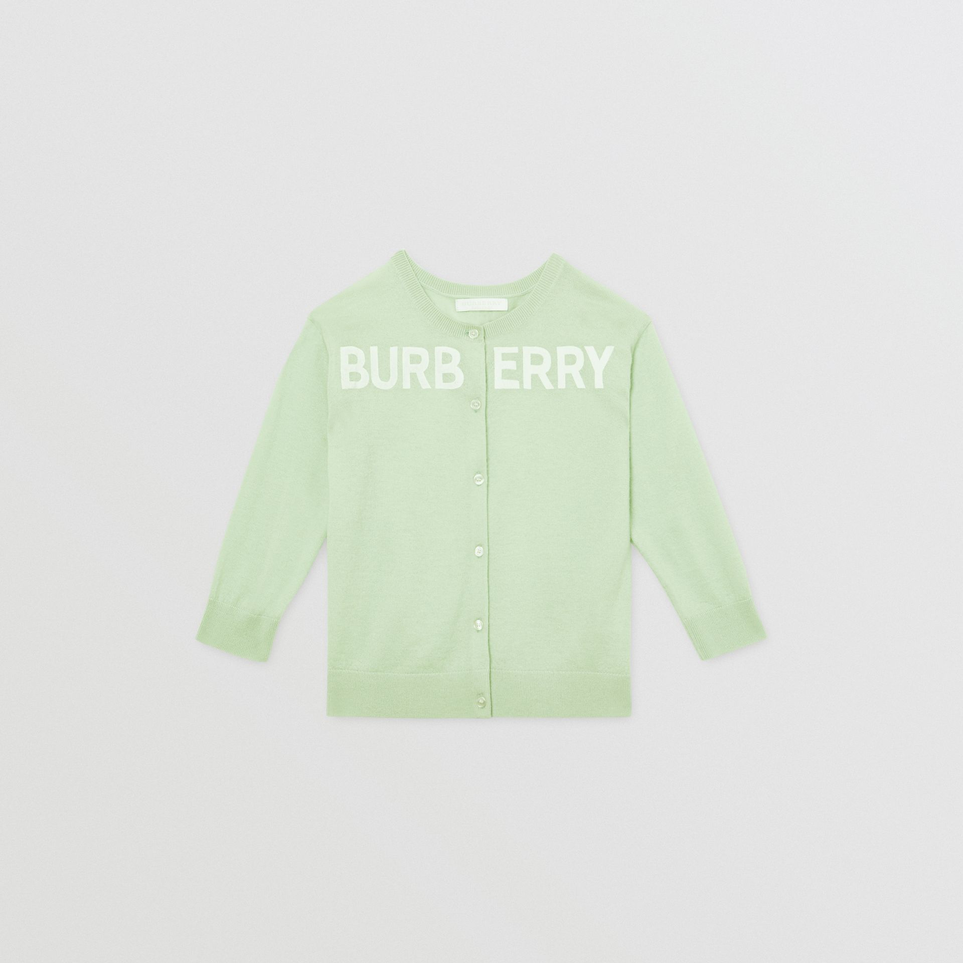 Logo Print Cashmere Two-piece Set in Pistachio | Burberry - gallery image 0