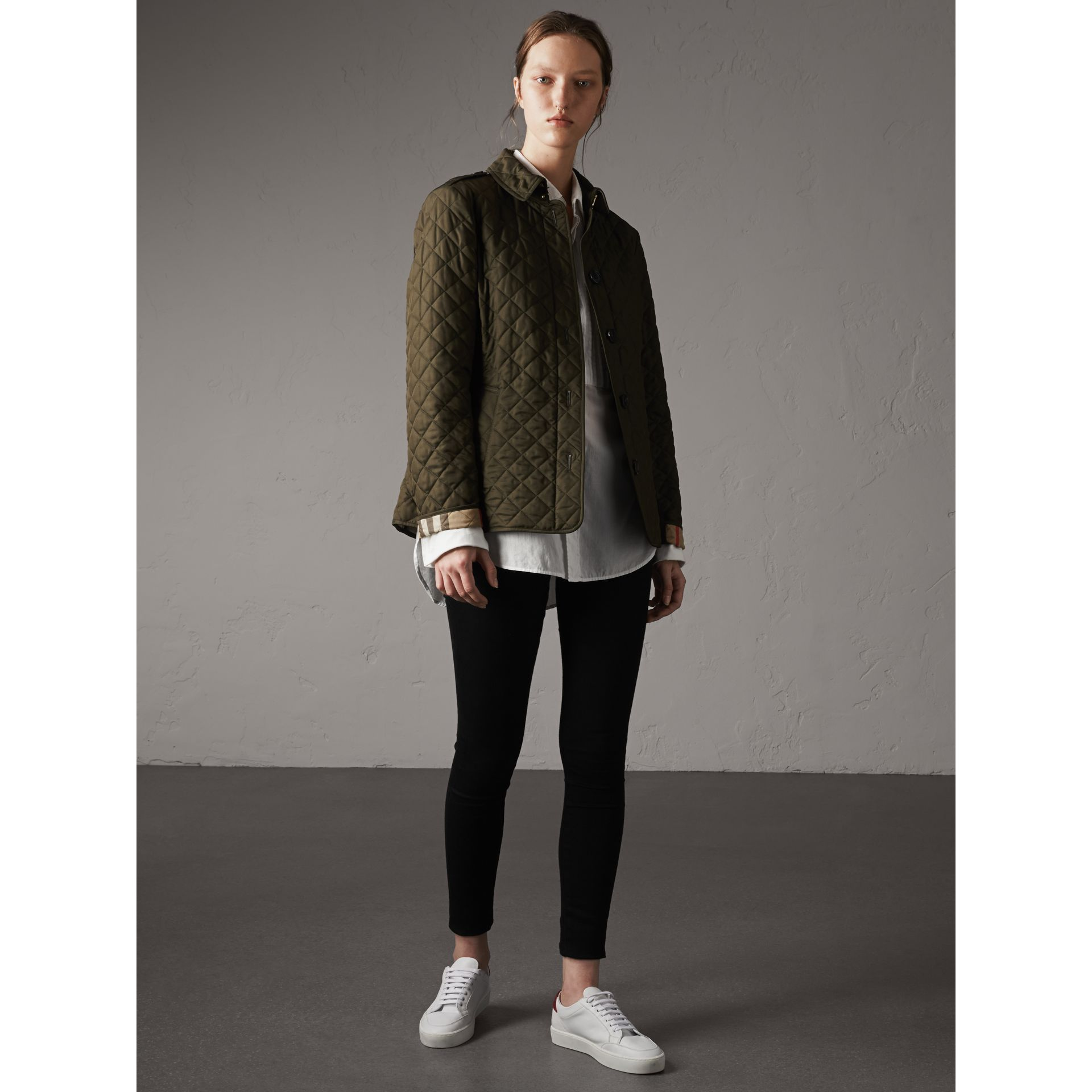 Diamond Quilted Jacket in Dark Olive - Women | Burberry - gallery image 0
