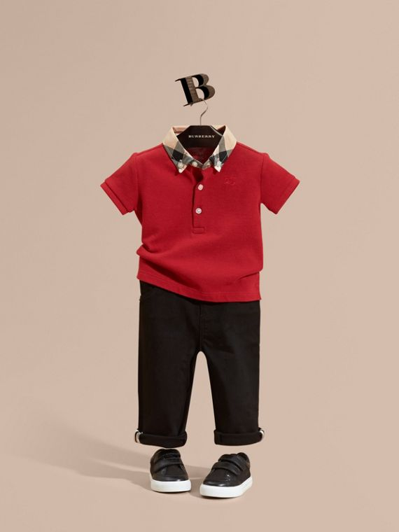 Check Collar Cotton Polo Shirt Military Red