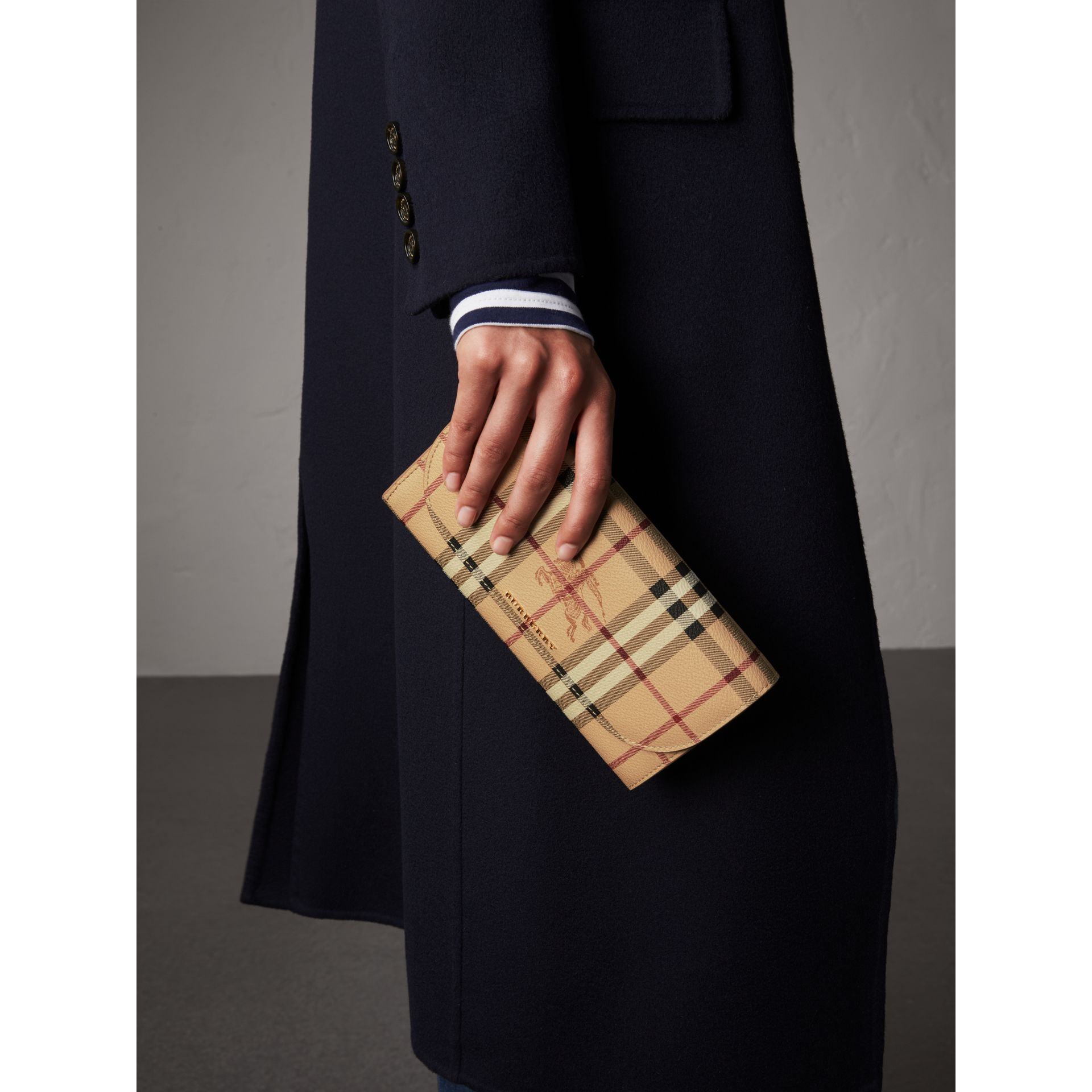 Leather Trim Haymarket Check Wallet with Chain in Mid Camel - Women | Burberry Canada - gallery image 2
