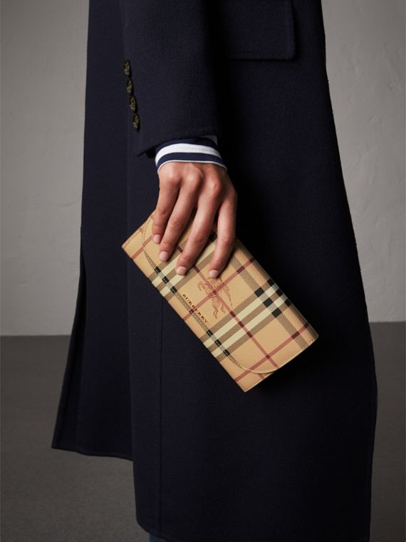 Leather Trim Haymarket Check Wallet with Chain in Mid Camel - Women | Burberry Canada - cell image 2