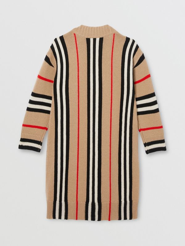 Icon Stripe Wool Cashmere Jacquard Sweater Dress in Archive Beige | Burberry - cell image 3
