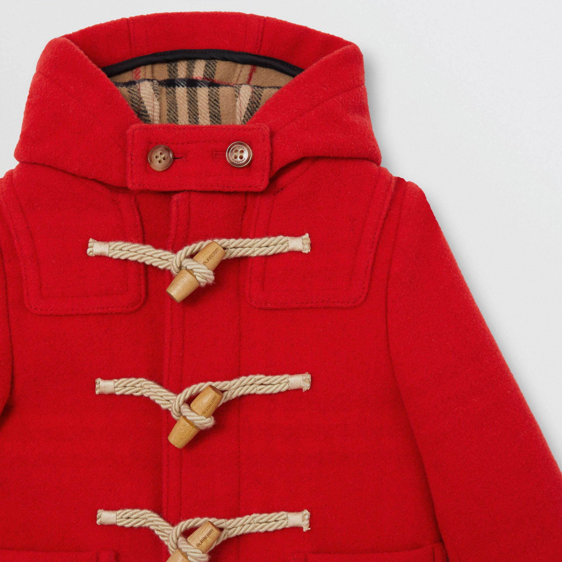 Boiled Wool Duffle Coat in Bright Red - Children | Burberry Australia - gallery image 1