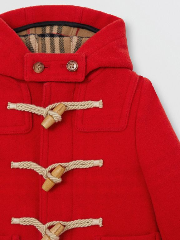Boiled Wool Duffle Coat in Bright Red - Children | Burberry Australia - cell image 1