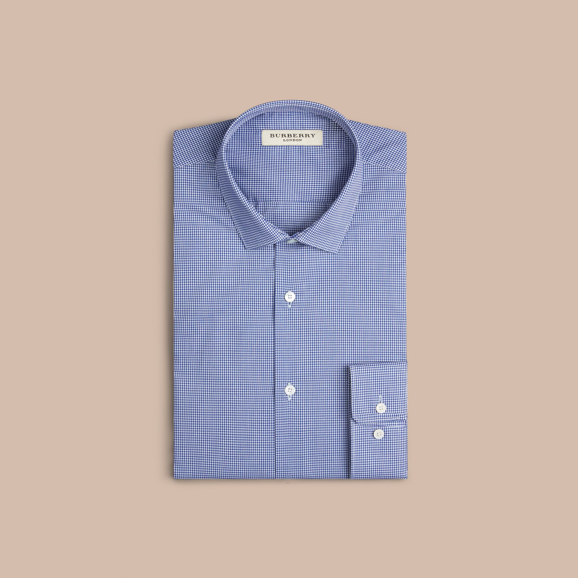 Modern Fit Gingham Cotton Poplin Shirt in Dark Empire Blue - gallery image 3