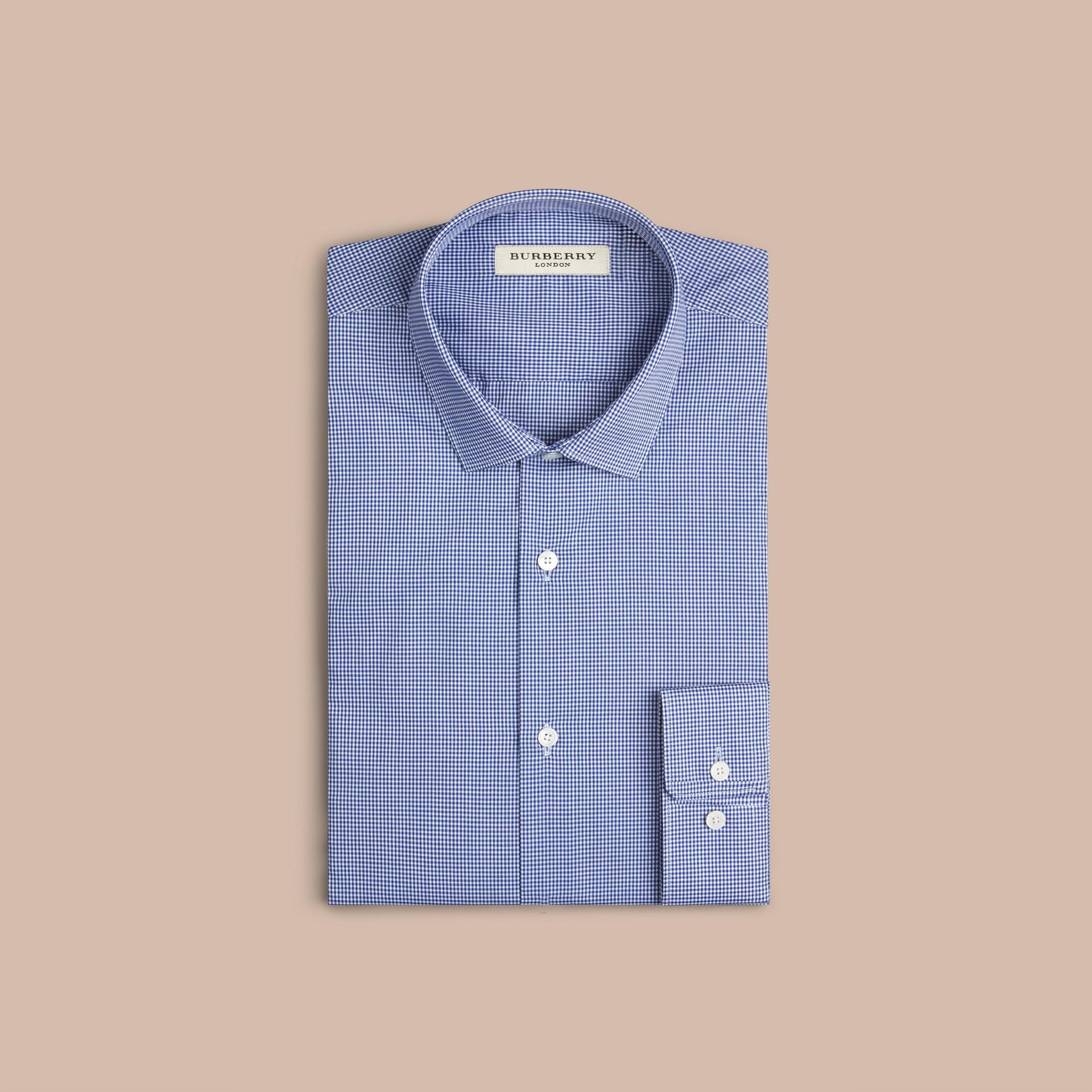 Camicia vichy moderna in popeline di cotone Blu Impero Scuro - immagine della galleria 3
