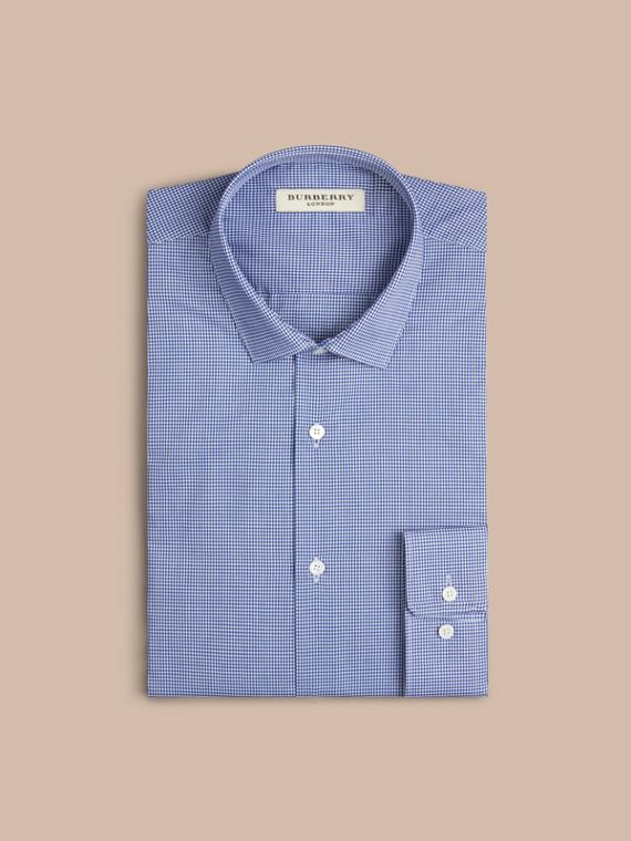 Modern Fit Gingham Cotton Poplin Shirt in Dark Empire Blue - cell image 2