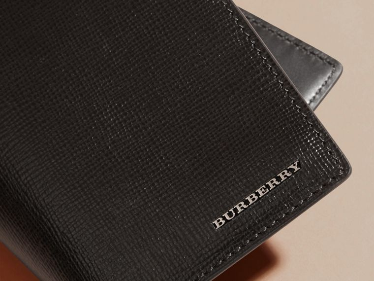London Leather Passport and Card Holder in Black - Men | Burberry - cell image 1