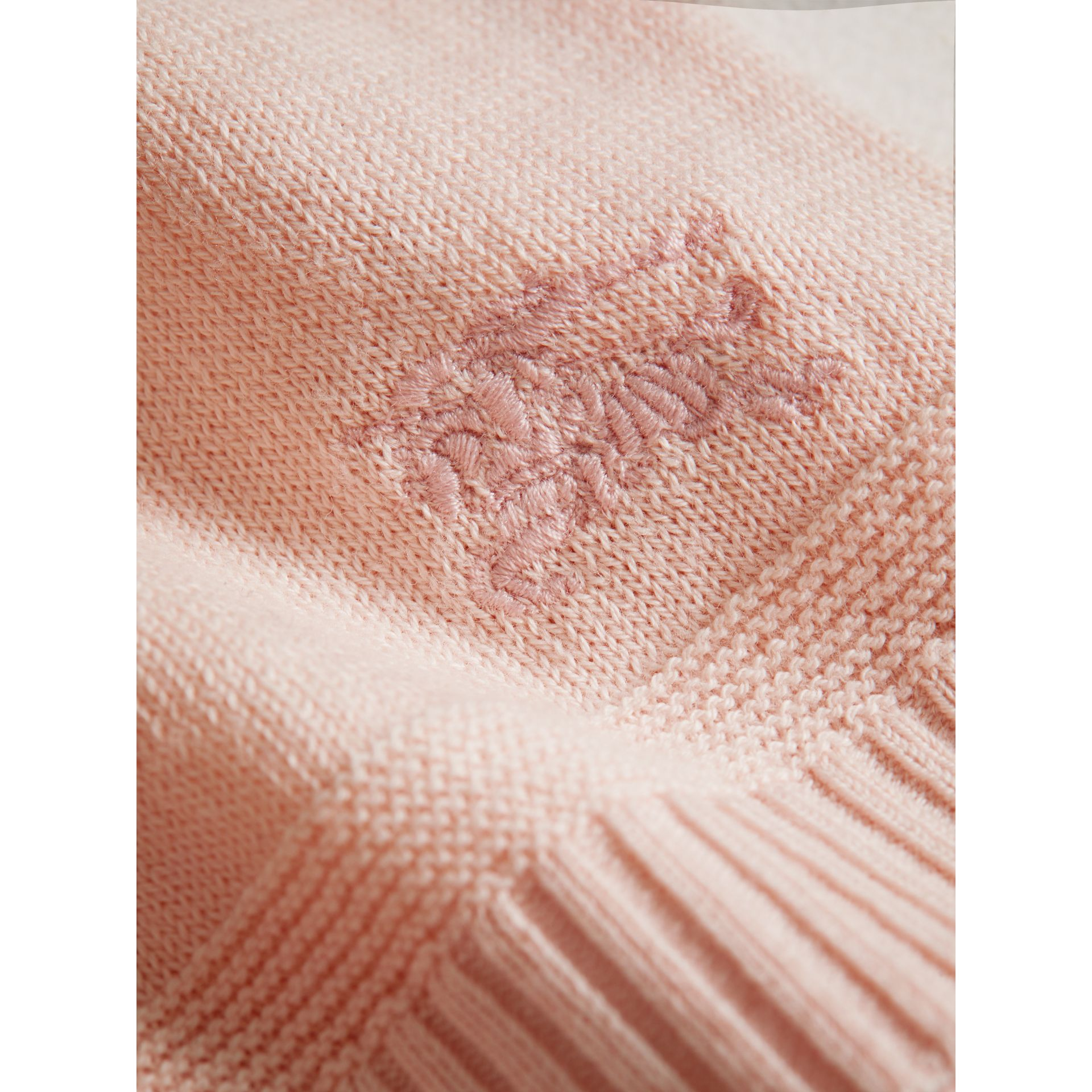 Multi-stitch Cotton Cardigan in Powder Pink | Burberry - gallery image 1