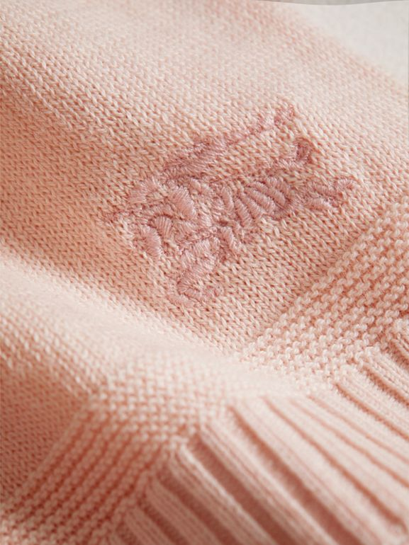 Multi-stitch Cotton Cardigan in Powder Pink - Children | Burberry - cell image 1