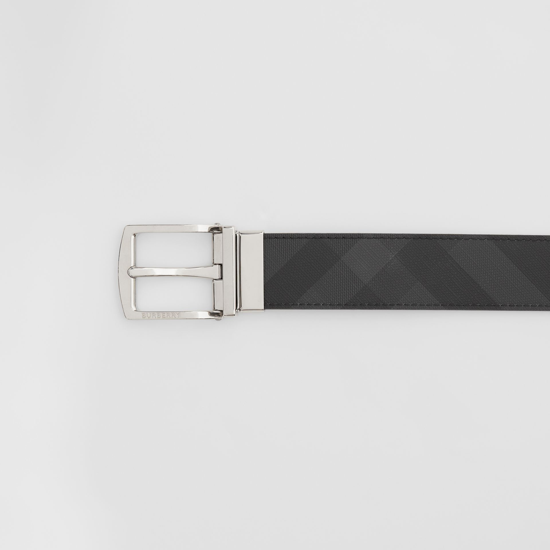 Reversible London Check and Leather Belt in Dark Charcoal/black - Men | Burberry - gallery image 1