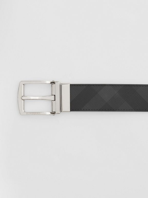 Reversible London Check and Leather Belt in Dark Charcoal/black - Men | Burberry Australia - cell image 1