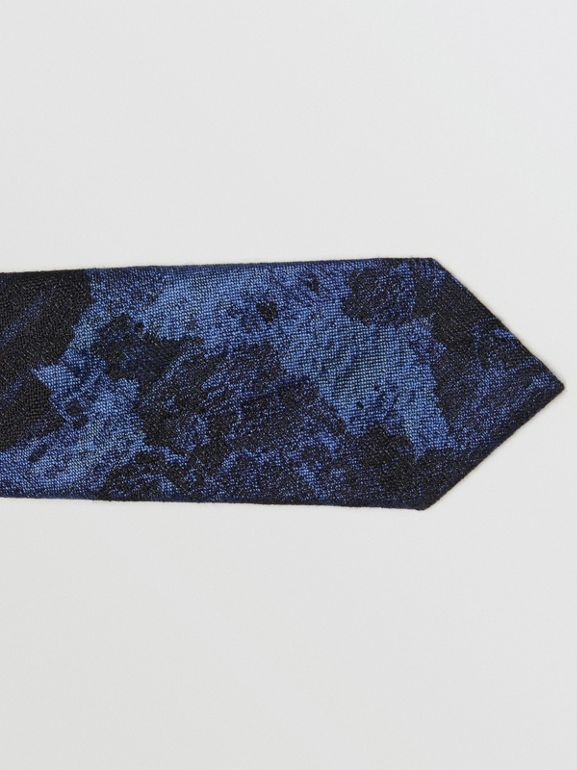 Slim Cut Dreamscape Wool Silk Jacquard Tie in Bright Navy - Men | Burberry - cell image 1