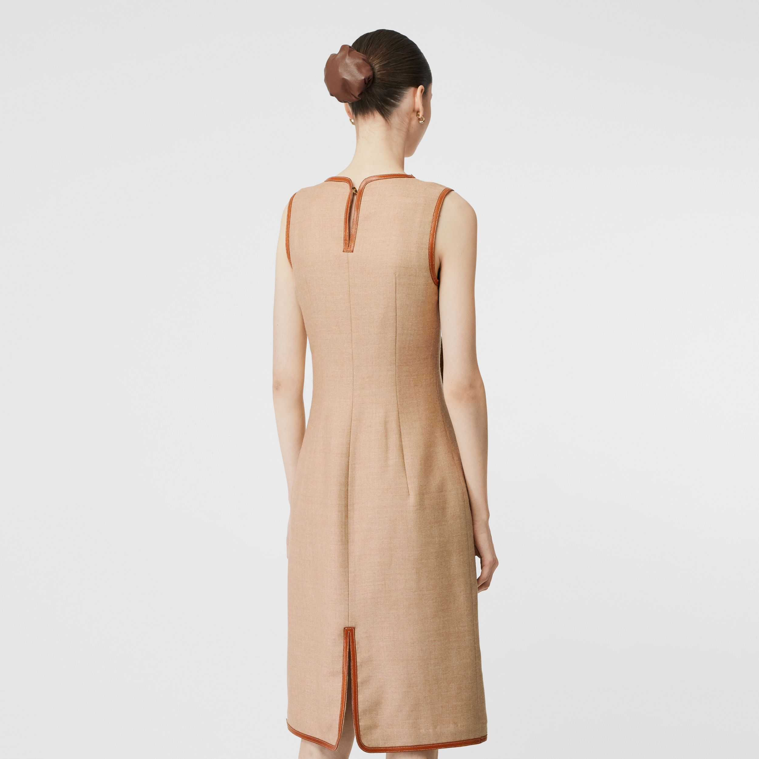 Button Panel Detail Wool Blend Shift Dress in Biscuit - Women | Burberry - 3