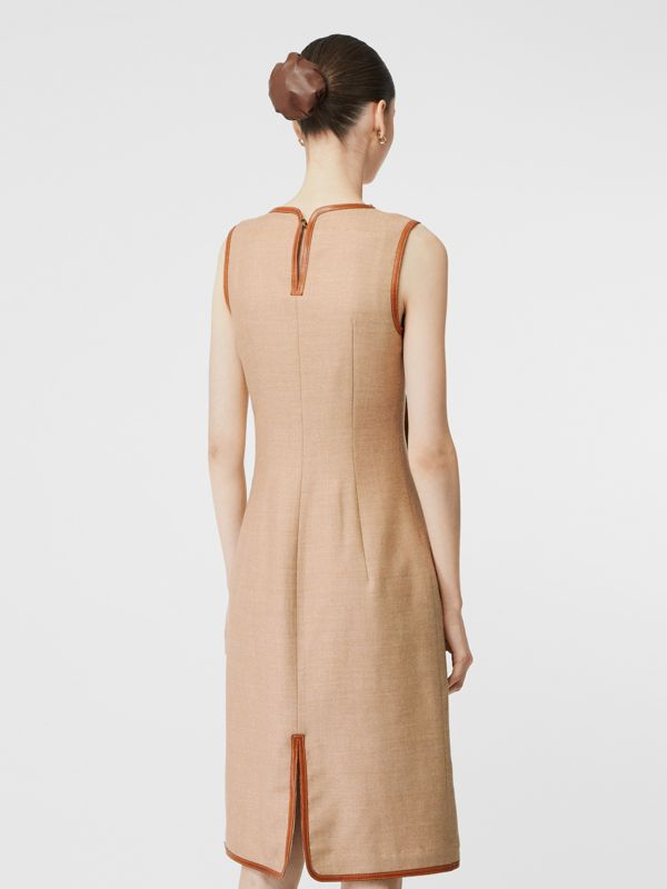 Button Panel Detail Wool Blend Shift Dress in Biscuit - Women | Burberry - cell image 2
