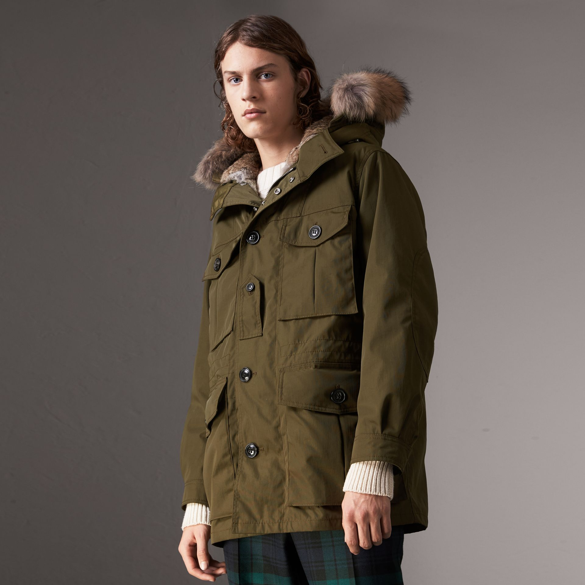Detachable Fur Warmer and Fur Trim Hooded Parka in Military Green - Men | Burberry Singapore - gallery image 0