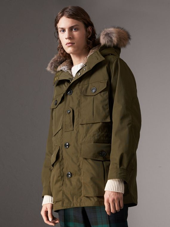 Detachable Fur Warmer and Fur Trim Hooded Parka in Military Green