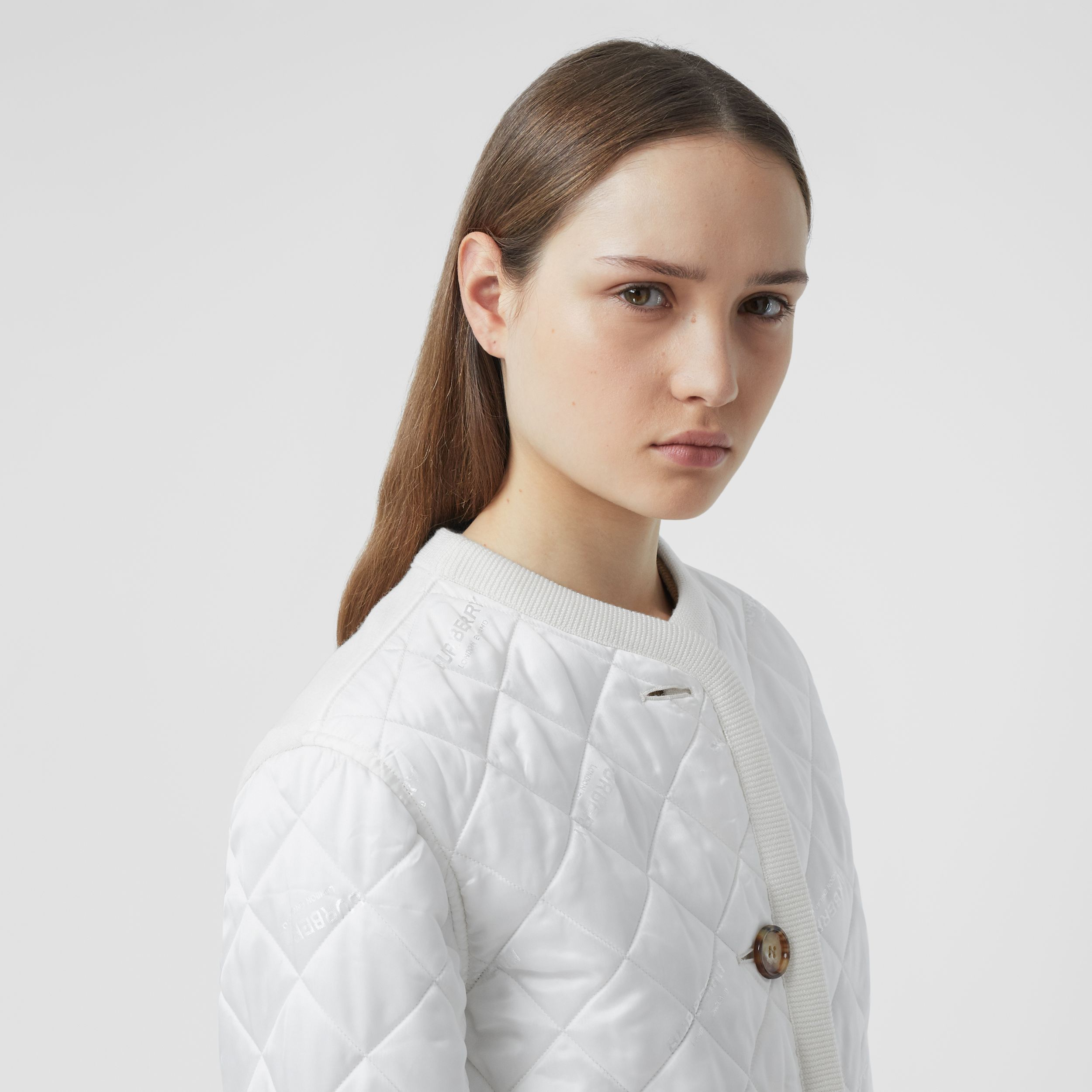 Logo Jacquard Diamond Quilted and Wool Blend Jacket in White - Women | Burberry - 2