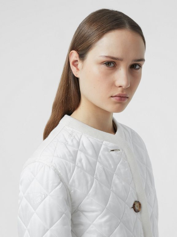 Logo Jacquard Diamond Quilted and Wool Blend Jacket in White - Women | Burberry - cell image 1