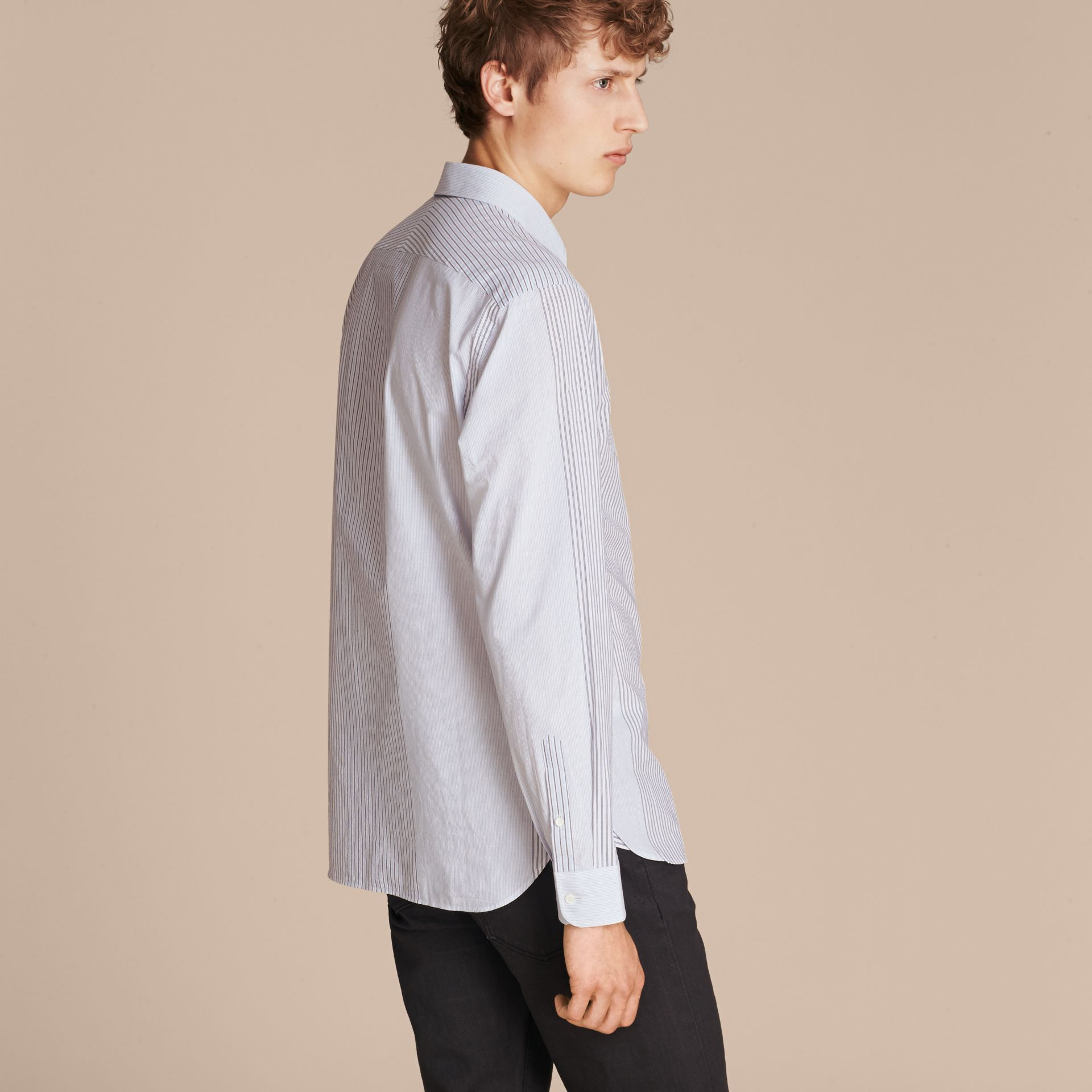 Light blue Panelled Stripe Cotton Shirt - gallery image 3