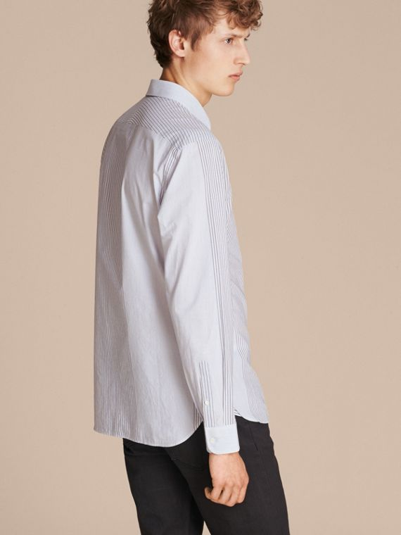 Light blue Panelled Stripe Cotton Shirt - cell image 2