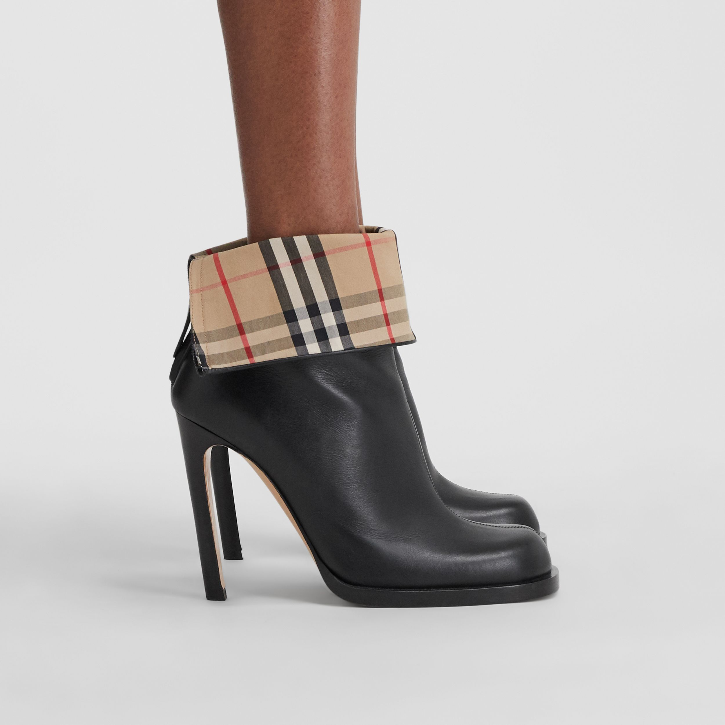Vintage Check-lined Leather Ankle Boots in Black - Women | Burberry - 1