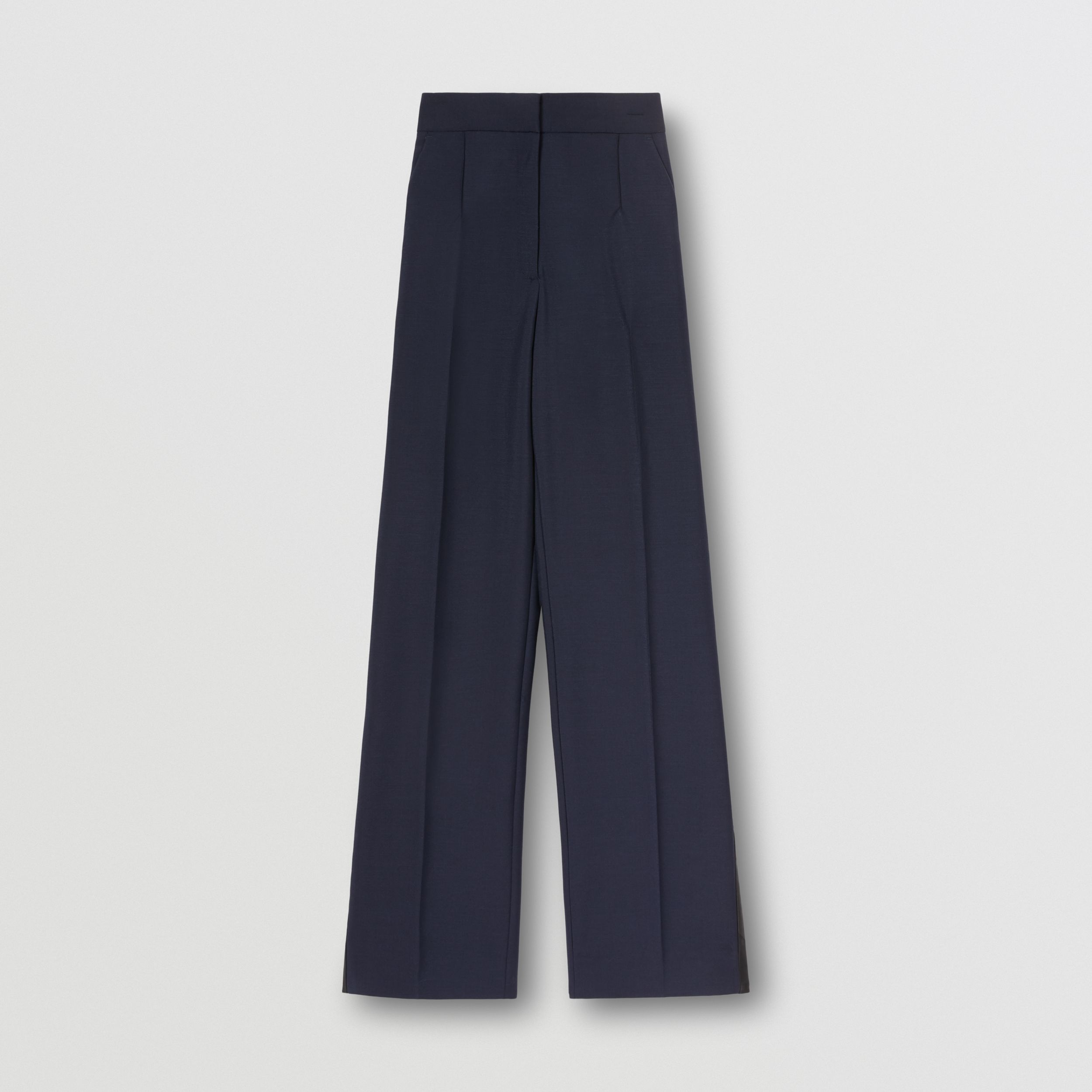 Side Stripe Mohair Wool Wide-leg Trousers in Dark Navy - Women | Burberry - 4