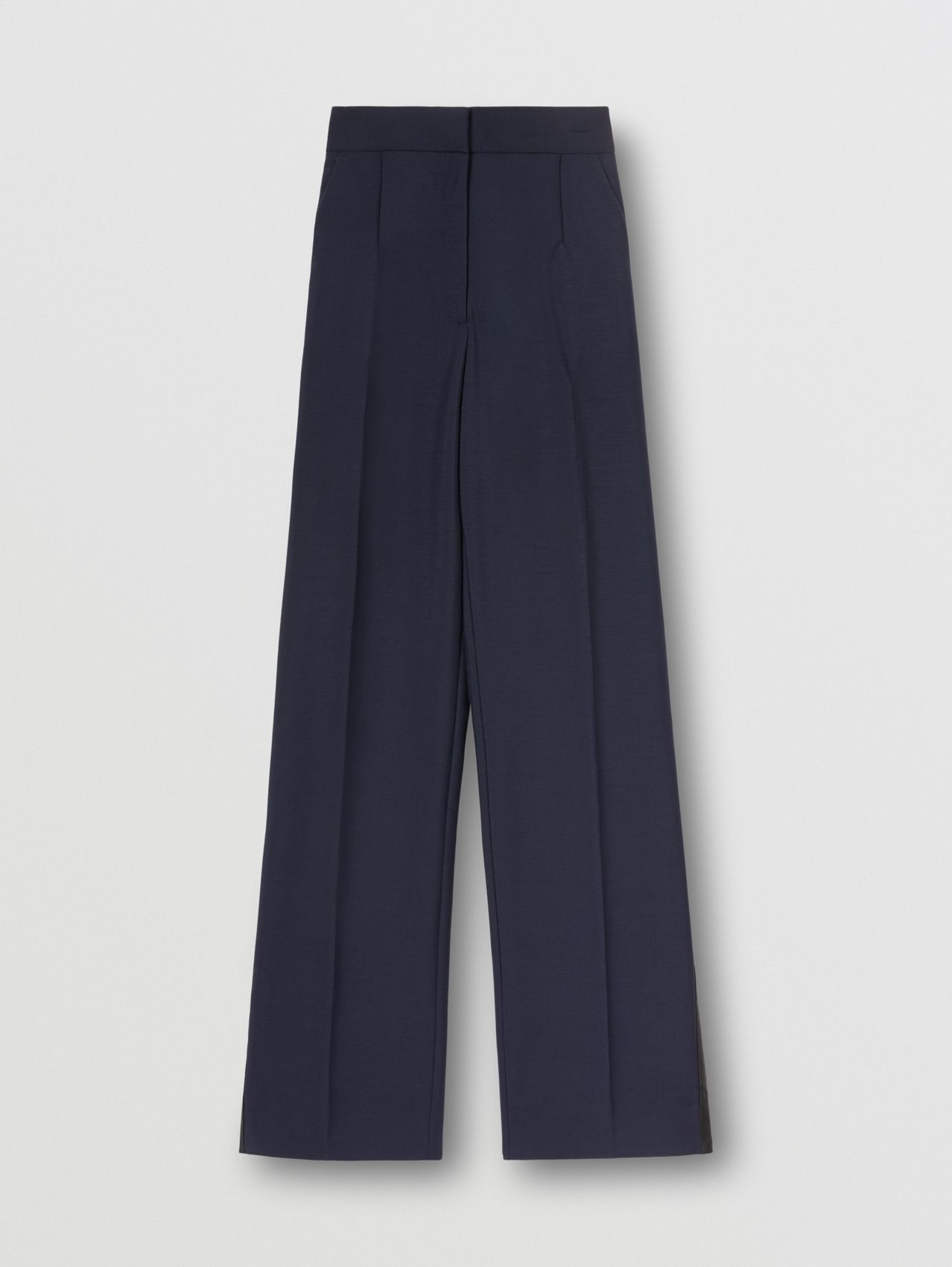 Side Stripe Mohair Wool Wide-leg Trousers in Dark Navy