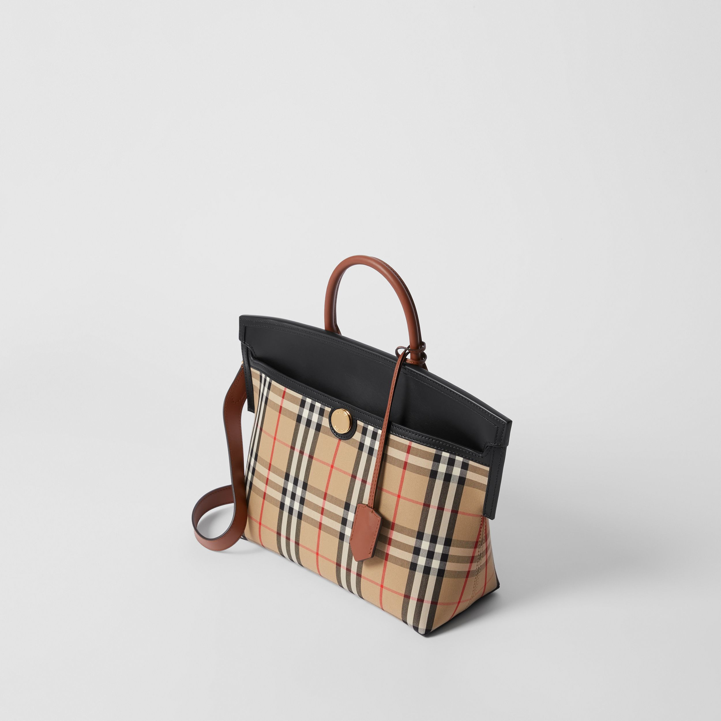 Small Vintage Check Society Top Handle Bag in Archive Beige/black - Women | Burberry Canada - 4