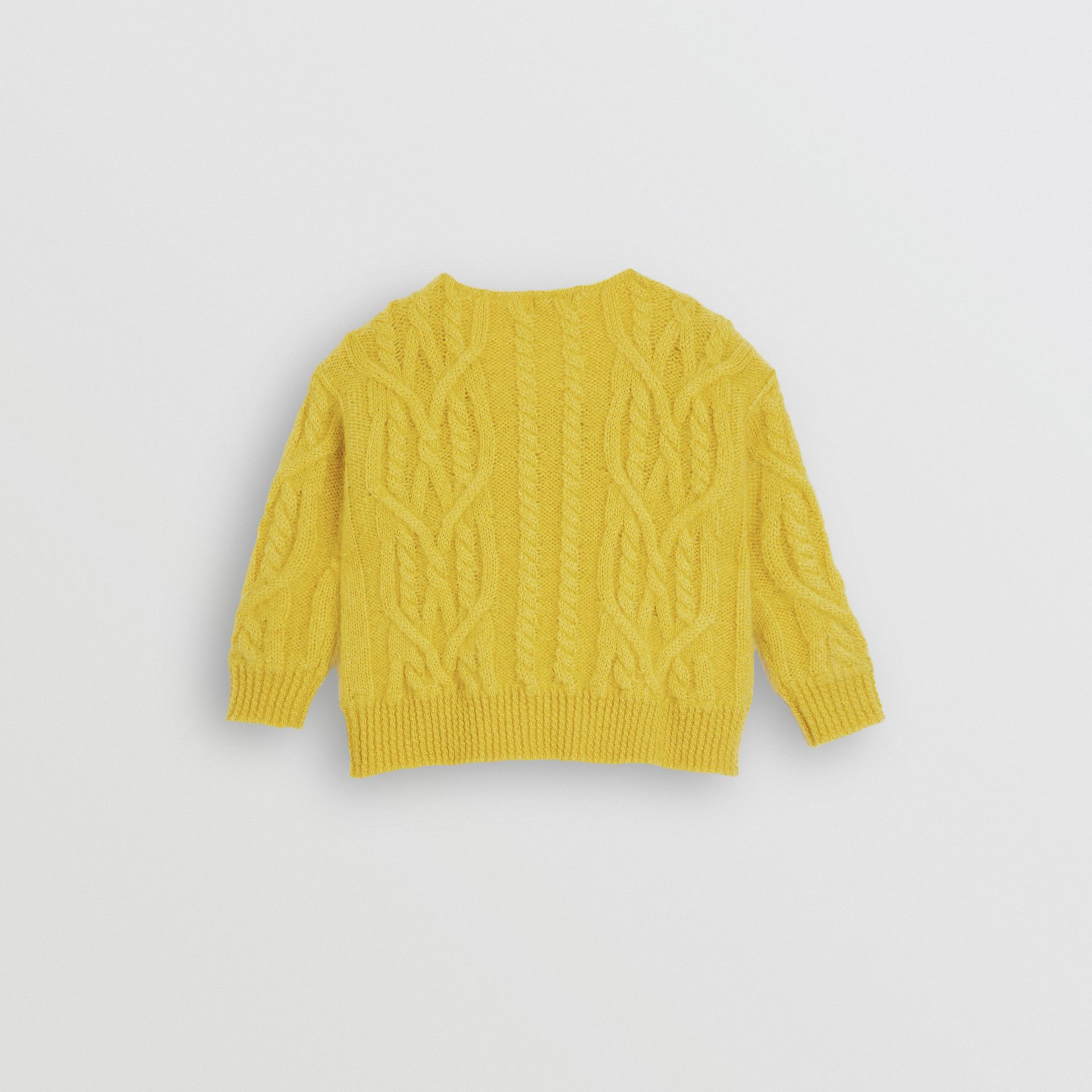 Cable Knit Mohair Wool Sweater in Bright Yellow | Burberry - gallery image 3