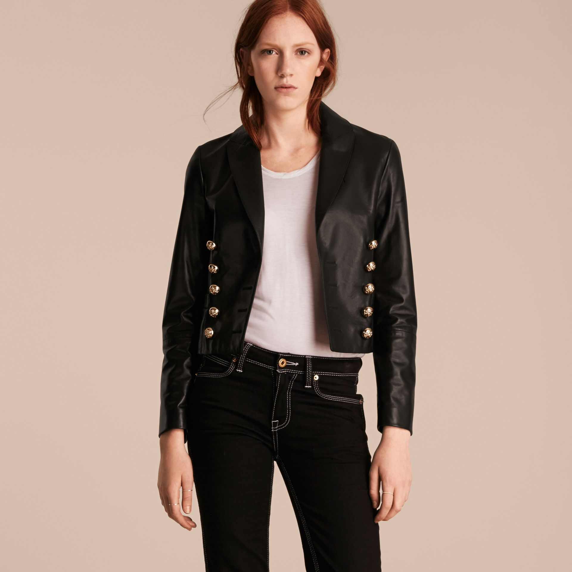 Cropped Lambskin Military Jacket - gallery image 6