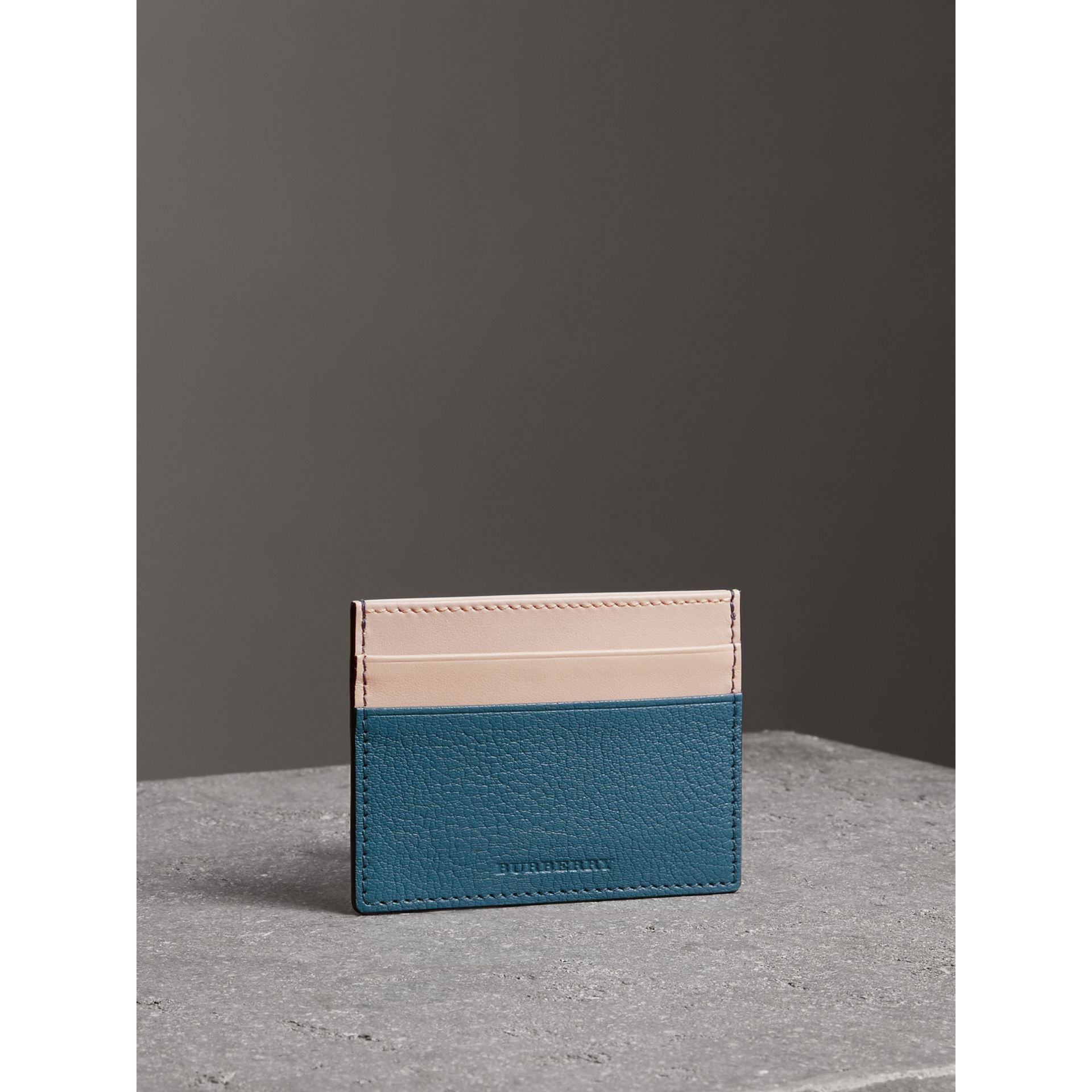 Two-tone Leather Card Case in Peacock Blue | Burberry - gallery image 5