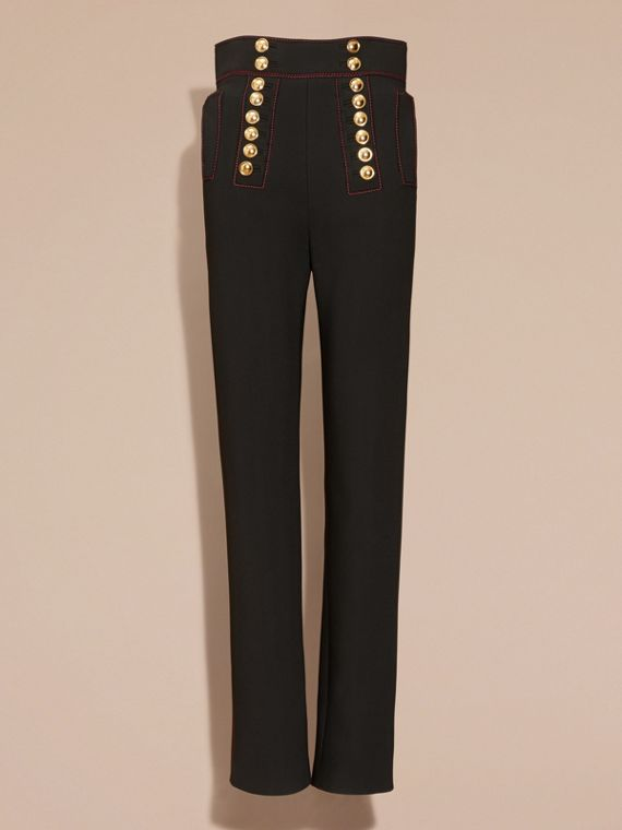 Black High-waist Stretch Military Trousers - cell image 3